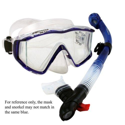 - Scuba Dive Panoramic Purge Mask Dry Snorkel Set, Blue, 9990