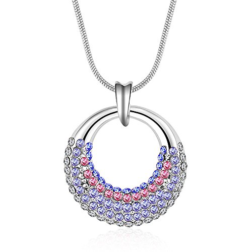 le Like Moon Shape Circle Pendant Diamond Accented 18K Silver Crystal Women Necklace ()