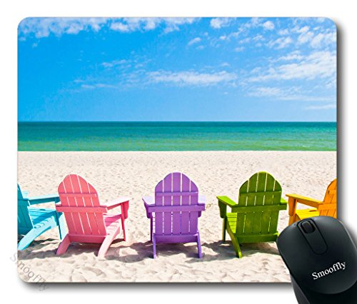 Price comparison product image Smooffly Gaming Mouse Pad Custom,Adirondack Beach Chairs on a Sun Beach Holiday Vacation Travel House Mouse Pad