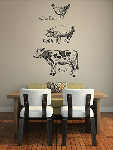 Cow Square - ik2845 Wall Decal Sticker cow pig chicken meat kitchen restaurant shop