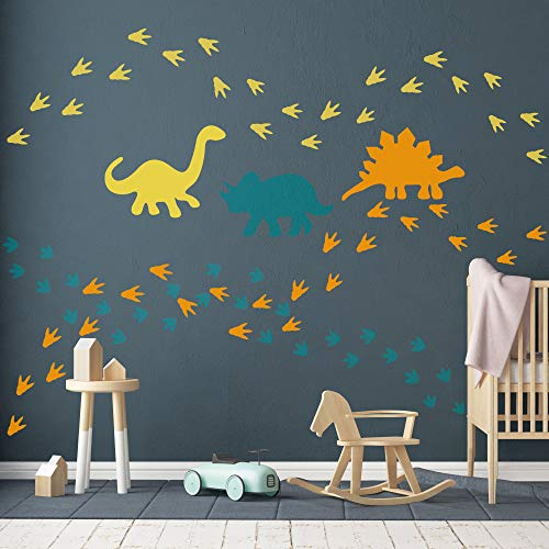 Dinosaur Wall Decal-Dinosaur Footprints&Tracks Stickers-Vinyl Wall Art for Boys&Girls Kids Bedroom Nursery Decor -