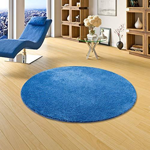 Palace Hochflor Shaggy Teppich Teppich Teppich Blau Rund in 7 Größen B004SH0UPG Teppiche 8a02dc