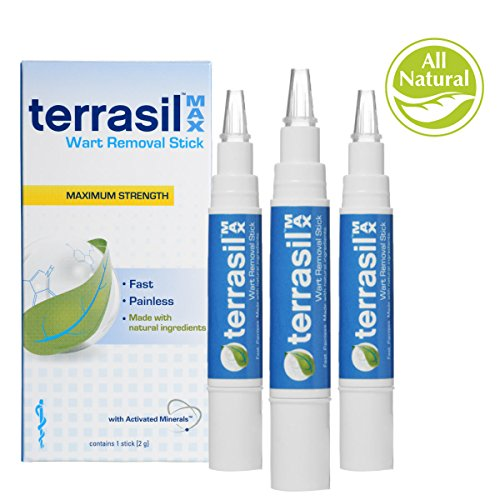 Terrasil® Wart Removal Stick MAX - Pain-free, Patented, 100% Guaranteed, Effective wart removal good for common warts and plantar warts on the hands and feet - 3 stick pack