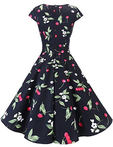 a corte Small Vintage Audrey Dresstells maniche Vestito Donna Black Hepbun 1950 Cherry xYxq861vw