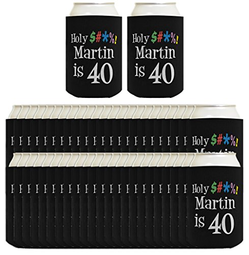 (40th Birthday Party Coolies Personalized Holy Cow Your Name is 40 or Any Age Custom Name Funny 40th Birthday Party Gifts Personalized 40th Birthday Party 96 Pack Can Coolie Drink Coolers Coolies Black)