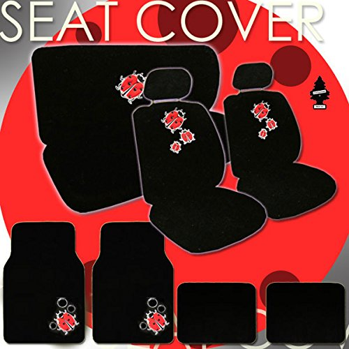 Hhr Bug - Yupbizauto Brand 14 Piece Ladybug Design Front Low Back Universal Size Bucket Seat Covers 5 Head Rest Covers, Rear Seat Cover, 4 Carpet with Vinyl Logo Front Floor Mats and an Air Freshener