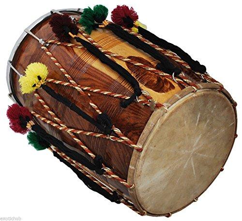 DHOL DRUMS~PUNJABI BHANGRA~SHEESHAM WOOD~PLAYING STICKS~HAND MADE INDIAN~ by SAI MUSICAL