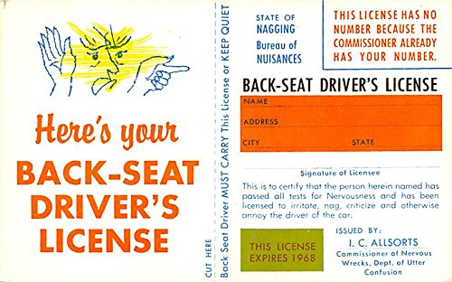 Back Seat Driver's License Advertising Postcard