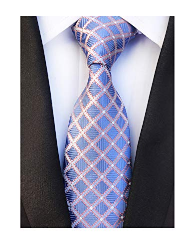 (Men's Urban Plaid Blue Silver Red Super Skinny Youth Students Party Suit Necktie)