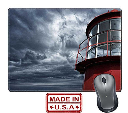 """Lighthouse Historic Lamp (Liili Natural Rubber Mouse Pad/Mat with Stitched Edges 9.8"""" x 7.9"""" Lighthouse against stormy sky IMAGE ID 13679952)"""
