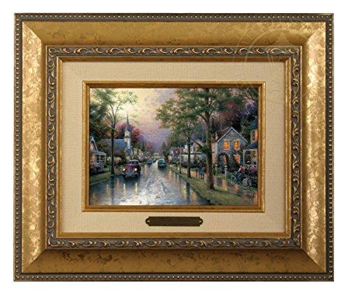 (Thomas Kinkade Hometown Morning Brushwork (Gold Frame))