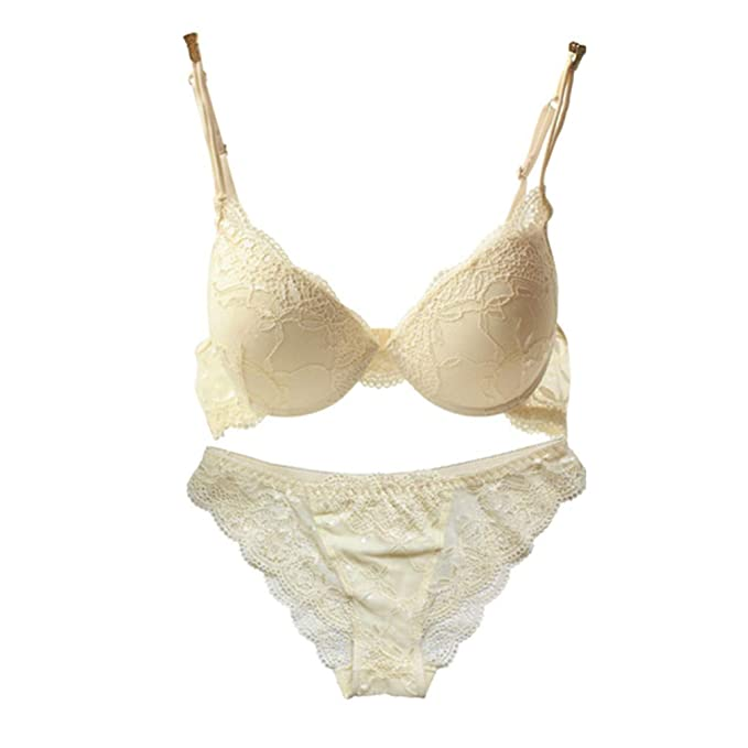 f49e80055081 Image Unavailable. Image not available for. Color: Women Lady Cute Sexy  Underwear Satin Lace Embroidery Bra Sets with Panties ...