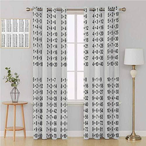 - Educational grommit Curtain Living, Dining Room, Bedroom Curtains,Multiplication Table on White Background Mathematics Algebra School Student Window Decor 120 by 84 Inch Black White
