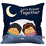Valentine Gifts for Boyfriend Girlfriend Blue 12X12 Printed Cushion with Filler Insert Cute Couple Dreaming Together Gift for Him Her Fiance Spouse Husband Wife Soulmate Birthday Anniversary Everyday