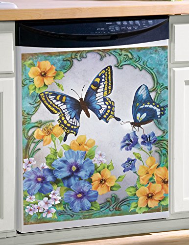 Vintage Spring Butterfly and Flowers Dishwasher Magnet, Blue