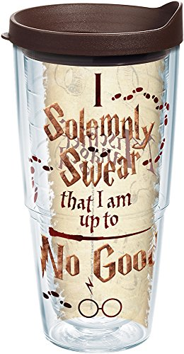 Tervis 1238328 Harry Potter-I Solemnly Swear That I Am up to No Good Insulated Tumbler with Wrap and Brown Lid, 24Oz, Clear