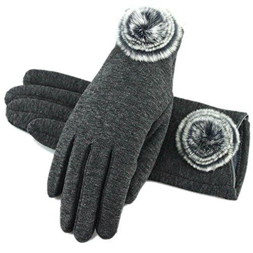手袋 レディース グローブ フェイクファー付 5本指 無地 裏起毛 保温 かわいい おしゃれ 秋冬 防寒 エレガント 自転車 お出かけ Monissy