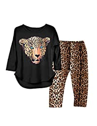 SIN vimklo 2-12T Girls Cotton Leopard Print Long Sleeve Tops+Pants 2PCS Outfit Set