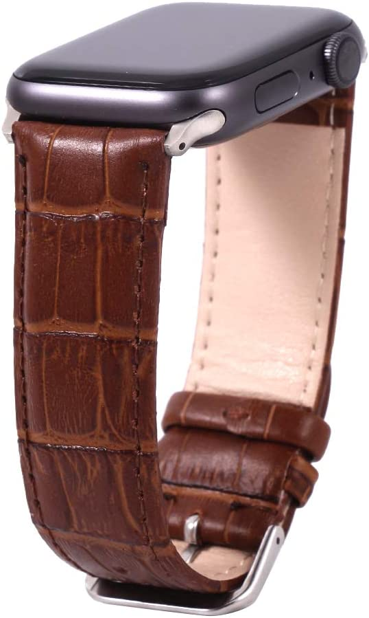 Yimitree Leather Strap Compatible with Apple Watch Band 40mm 44mm, Leather Replacement Band Compatible with Apple IWatch Series 5 4 (44mm) Series 3 Series 2 Series 1 (42MM) (Brown, 42MM-44MM)
