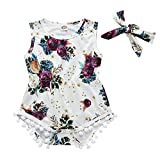 WUAI Newborn Baby Girls Onesies Floral Rompers Summer Rose Printed Tassel Jumpsuits Bow-Knot Headband 2 PCs(White,18-24 Months