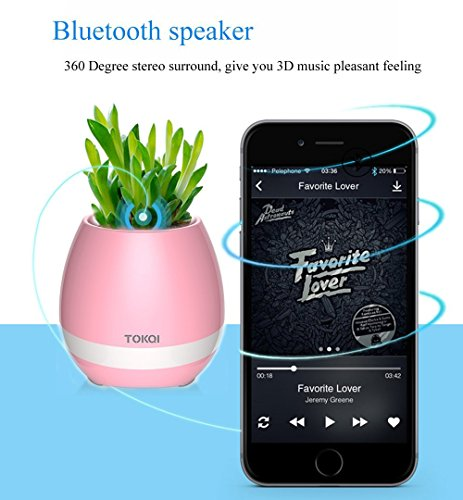 Bluetooth Speakers Touch Control Night Light Breathing LED Musical Flowerpot, Smart Plant Pots Play Music by Touching Plants Rechargeable Home Decor Festivel Gift (Blue)