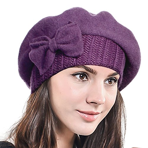 Lady French Beret Wool Beret Chic Beanie Winter Hat Jf-br034 (HY022-Deep Purple)