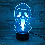 LE3D 3D Optical Illusion Desk Lamp/3D Optical Illusion Night Light, 7 Color LED 3D Lamp, Scream 3D LED For Kids and Adults, Ghost Face Light Up