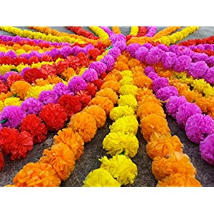20 pcs lot Real Look Artificial Garlands Marigold Flower Garland Christmas Wedding Party Decor Flowers Mix Color Home Decor Christmas Decor 48