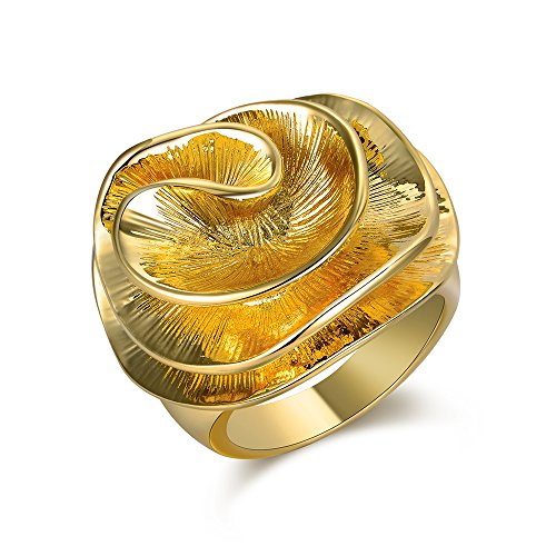 (Mytys Golden Cocktail Rings Big Flower Wave Ring for Women Daily Wear Rings Size 10)