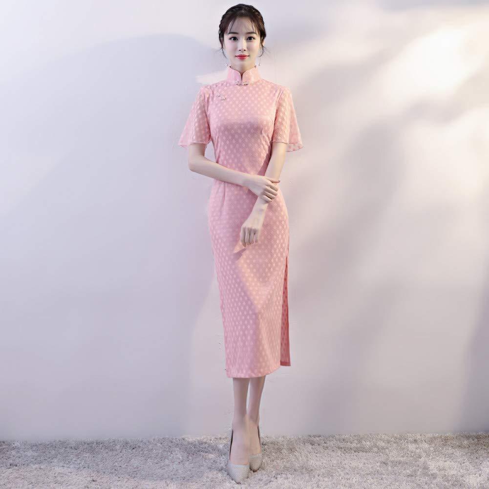 A1 XXL Qingxi Atmosphère élégante Cheongsam Fille mi-Longue élégante Robe Quotidienne Lady Lady Cheongsam