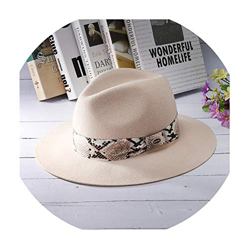 Soft 100% Wool Felt Hats Fashion Fedoras Snake Skin Striped Band Jazz Cap Lady Solid Wide Brim Panama Hat,Light Pink,56-58cm