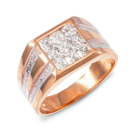 - Men's 10k Rose Gold Perfect Square Top Invisible Set CZ Ring (Size 9)