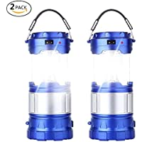 2-Pack CaseTop Portable Outdoor Rechargeable Solar LED Camping Light Lantern