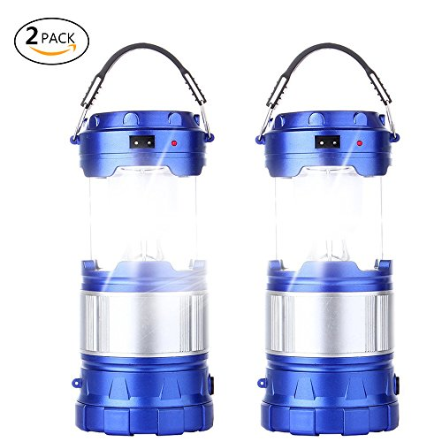 2 Pack Outdoor Camping Lamp, Portable Outdoor Rechargeable Solar LED Camping Light Lantern Handheld Flashlights with USB Charger, Perfect Hiking Fishing Emergency Lights