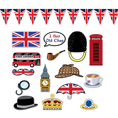 Fun British Theme Cutouts of London with Photo Booth Prop Sticks and Union Jack Pennant Banner Bundle -