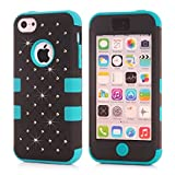 5C Case,Lantier Bling Diamond Design [ 3 in 1 Shield Series ] Hybrid Shockproof Case for Apple iPhone 5C with Soft Silicone Inner and Hard PC Outer Cover Bling Star Black+Blue