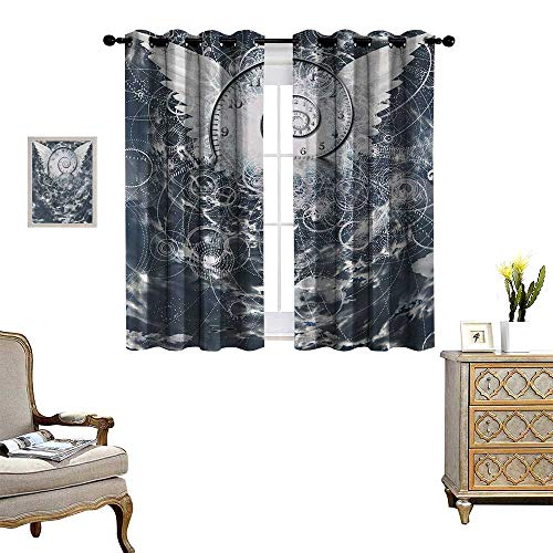 Anyangeight Psychedelic Thermal Insulating Blackout Curtain Surreal Paint with Wings and Time Spiral in Cloud with Circles Sacred Geometry Image Patterned Drape for Glass Door W63 x L63 Grey ()
