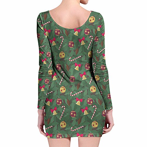 Christmas Tree Longsleeve Bodycon Dress Kleid XS-3XL