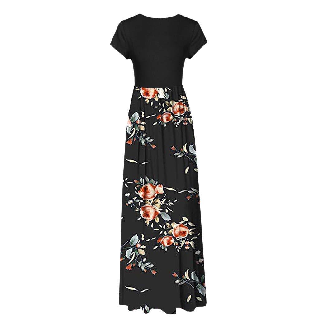 01202915c4 Amazon.com  Women Short Sleeve Loose Plain Maxi Dresses Casual Long Dresses  Pockets  Kitchen   Dining
