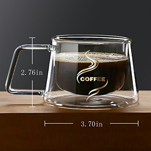 YIFANYU Double Wall Insulated Glass Espresso Mugs Heat Resistant Clear Glass Coffee Tea Cups With Handle by YIFANYU (Image #1)