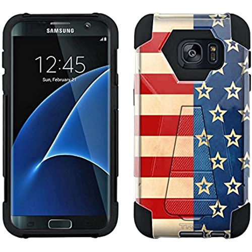 Samsung Galaxy S7 Hybrid Case Patriotic Retro Stripes and Stars 2 Piece Style Silicone Case Cover with Stand for Samsung Galaxy S7 Sales