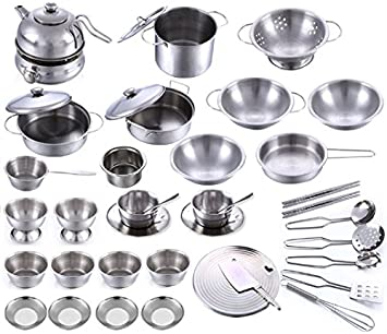 Amazon Com Stainless Steel Children Kitchen Toys Miniature Cooking Set Simulation Tableware For Kids 40 Pcs Games