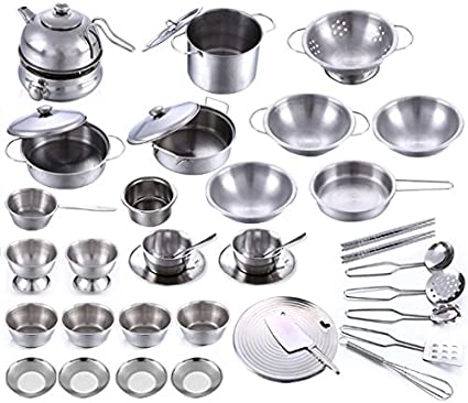 Amazon Com Stainless Steel Children Kitchen Toys Miniature Cooking Set Simulation Tableware For Kids 40 Pcs Toys Games