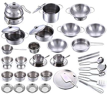 Amazon.com: Stainless Steel Children Kitchen Toys Miniature ...