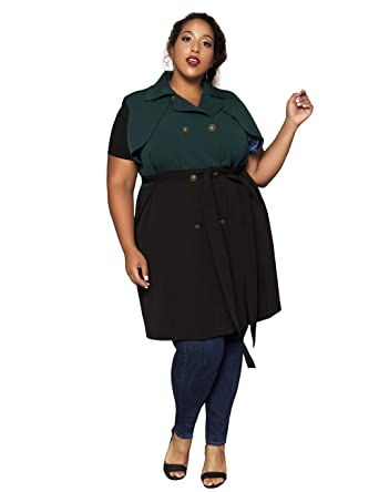 f8029559bf9 Astra Signature Women s Plus Size Lapel Double Breasted Green and Black  Trench Coat Sleeveless Long Jacket