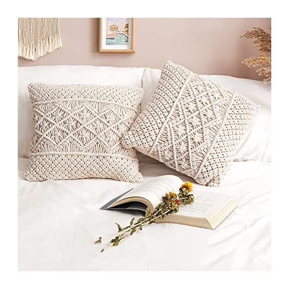 Mkono Throw Pillow Cover Macrame Cushion Case (Pillow Inserts Not Included) Set of 2 Decorative Pillowcase for Bed Sofa Couch Bench Car Boho Home Decor,17 Inches - This macrame throw pillow cover has various usage as pillow indoor and outdoor, bolster for any body part, sleeping, watching TV, in-bed readingand. Perfect for decorating your room in a simple and fashion way. Suitable for living room, bed room, office, cafe, ect, and add a touch of graceful color to your home or any other place. Material: Cotton and fabric, Gorgeous, durable and eco friendly decor. Please notes that pillow inserts and other props are not included! Unique design adds texture and interest to any home decor.This knit pillow cover make a boho vibe on sofa, couch, bench, bed or car. - living-room-soft-furnishings, living-room, decorative-pillows - 51jH9hAGlxL. SS570  -