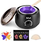 Wax Warmer, Hair Removal Home Waxing Kit with 3 Bags Wax Beans (3.5oz/bag), Applicator Sticks, Wax Heater Collars, Wax Melting Bowls for Full Body Women Men Waxing at Home