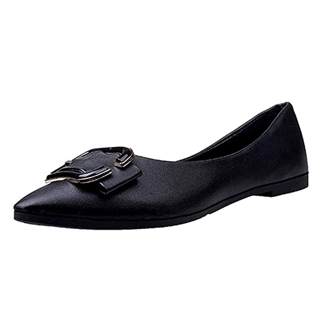 f8cefa2d76b Women s Solid Pointed Toe Metal Button Flat Casual Loafers Single Shoes  Work Outdoor Driving Wear Ladies