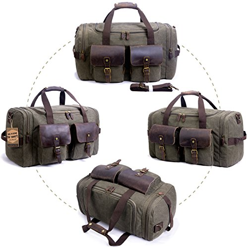 SUVOM Canvas Duffle Bag Leather Weekend Bag Carry On Travel Bag Luggage Oversized Holdalls for Men and Women(Army Green)