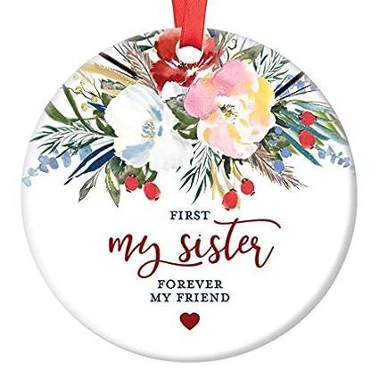 WSMBDXHJ: Adorno de Navidad para Hermana 2018, Primer Regalo para mi Hermana Forever My